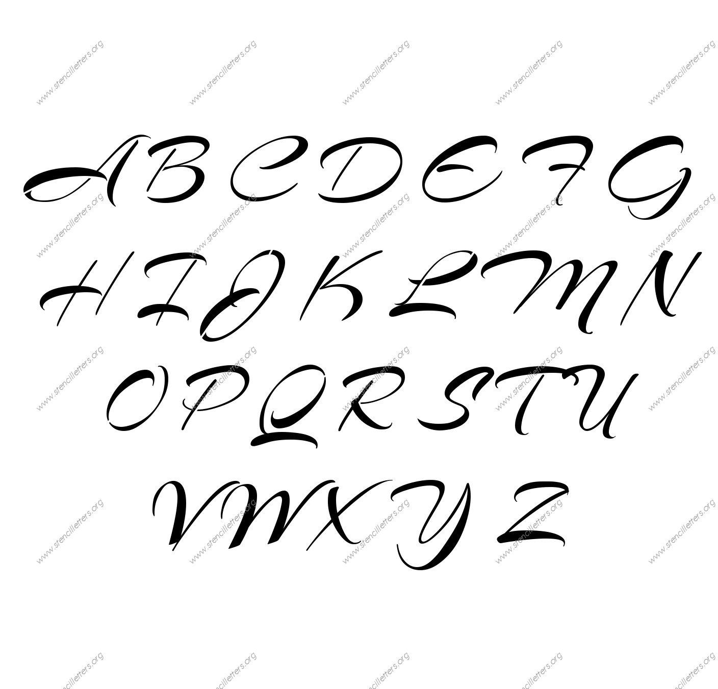 Brushed Cursive Uppercase Amp Lowercase Letter Stencils A Z 1 4 To 12 Inch Sizes