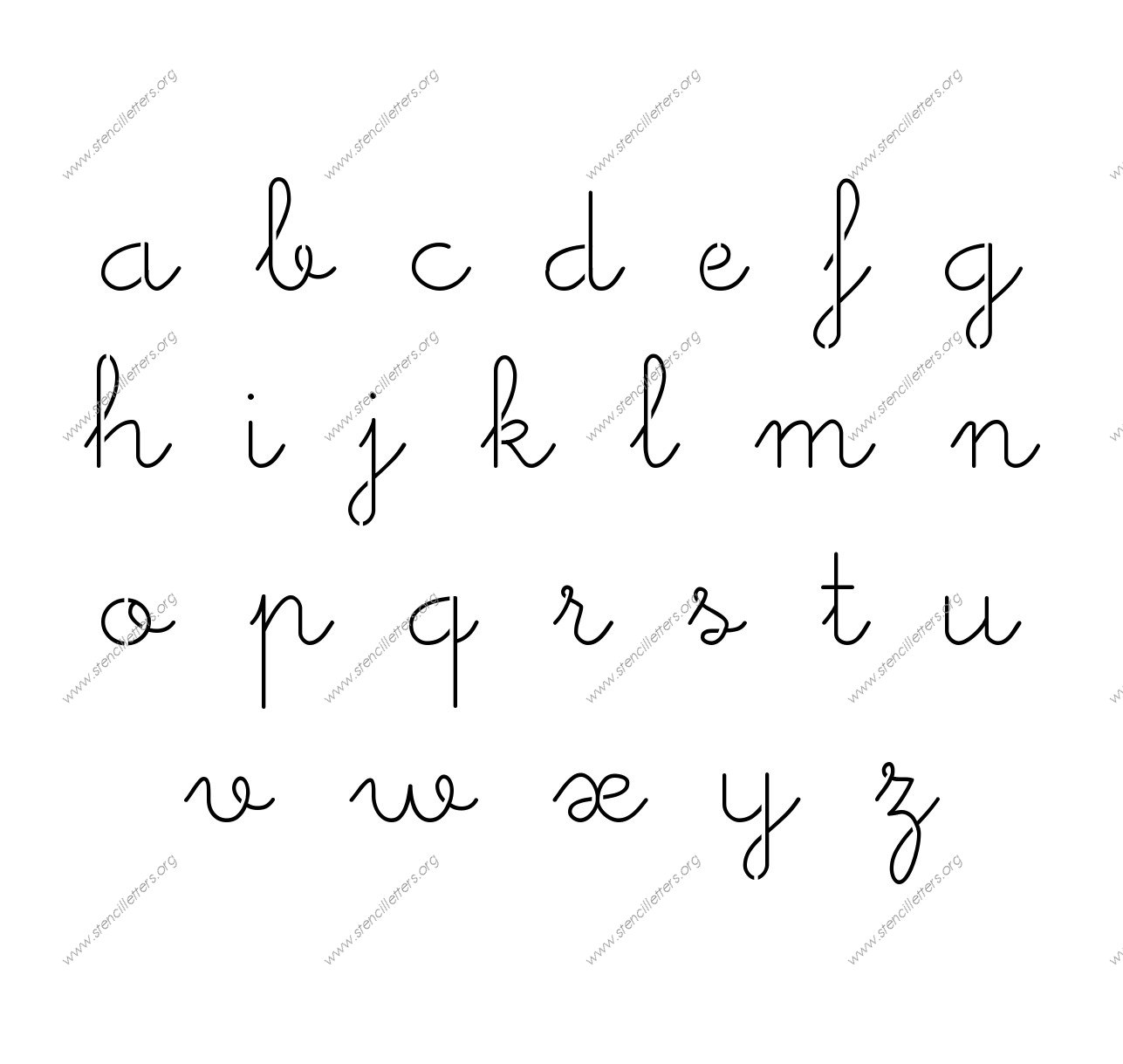 Cute Girly Cursive Uppercase Amp Lowercase Letter Stencils A