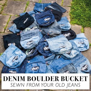 sten boulder bucket sewn from jeans