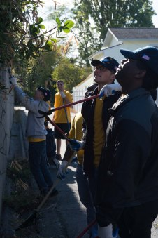 160924-N-XX566-197 BREMERTON, Washington (Sept. 24, 2016) Sailors assigned to USS John C. Stennis (CVN 74) trim overgrown plants from a wall during a community service event. John C. Stennis is conducting a routine maintenance availability following a deployment to U.S. 7th and 3rd fleet areas of operation. (U.S. Navy photo by Mass Communication Specialist 3rd Class Andre T. Richard/ Released)