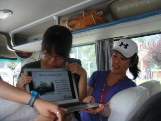 Denial of entering the university meant that the students came out to our tour bus instead to show their presentation for us