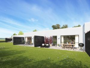 Sådan kommer Nybyggernes boliger på Regimentsvej i Farum til at tage sig ud, når alt - også haverne - er færdig anlagt.