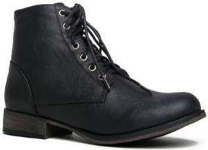 Breckelle's Women's Georgia-43 Faux Ankle High Lace Up Combat Boot