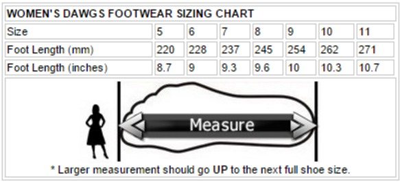 DAWGS Women's Size Chart