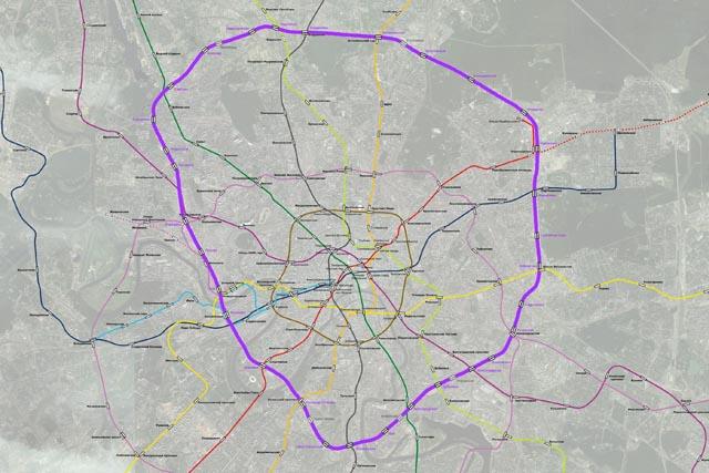 Линия МКЖД отмечена фиолетовым на карте Москвы (авторы карты с линиями метро - проект probok.net)