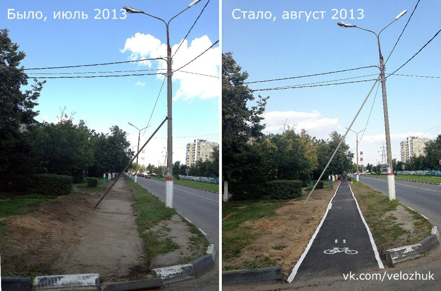 Восстановление велодорожки в Жуковском (изображение: vk.com/velozhuk)