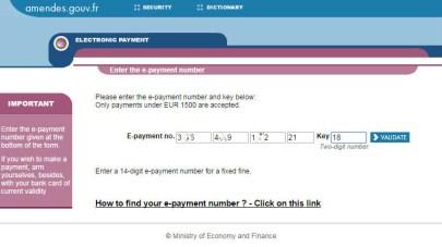 Сайт французского Министерства финансов для оплаты автомобильных штрафов - ввод номера квитанции на оплату
