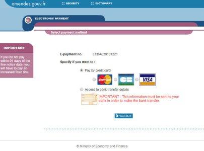 Сайт французского Министерства финансов для оплаты автомобильных штрафов - выбор метода оплаты