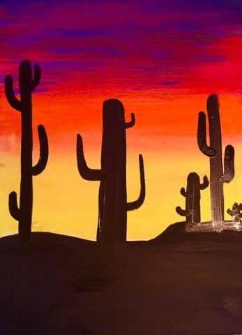How To Paint A Cactus Silhouette Sunset Step By Step