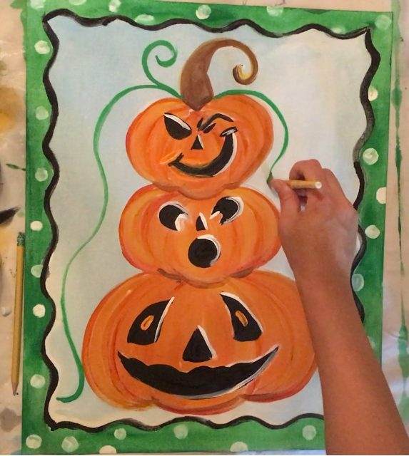 pumpkin topiary painting on canvas