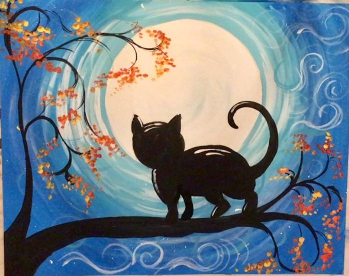 Painting of a cat silhouette on a branch looking at a full moon