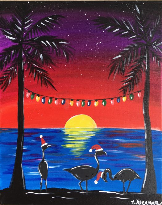 How To Paint A Flamingo Christmas Sunset Step By Step Painting