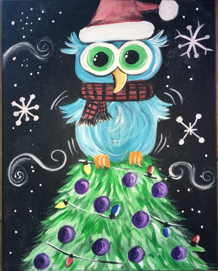 Acrylic Christmas Tree Painting.How To Paint An Owl On A Christmas Tree Tracie S Canvas