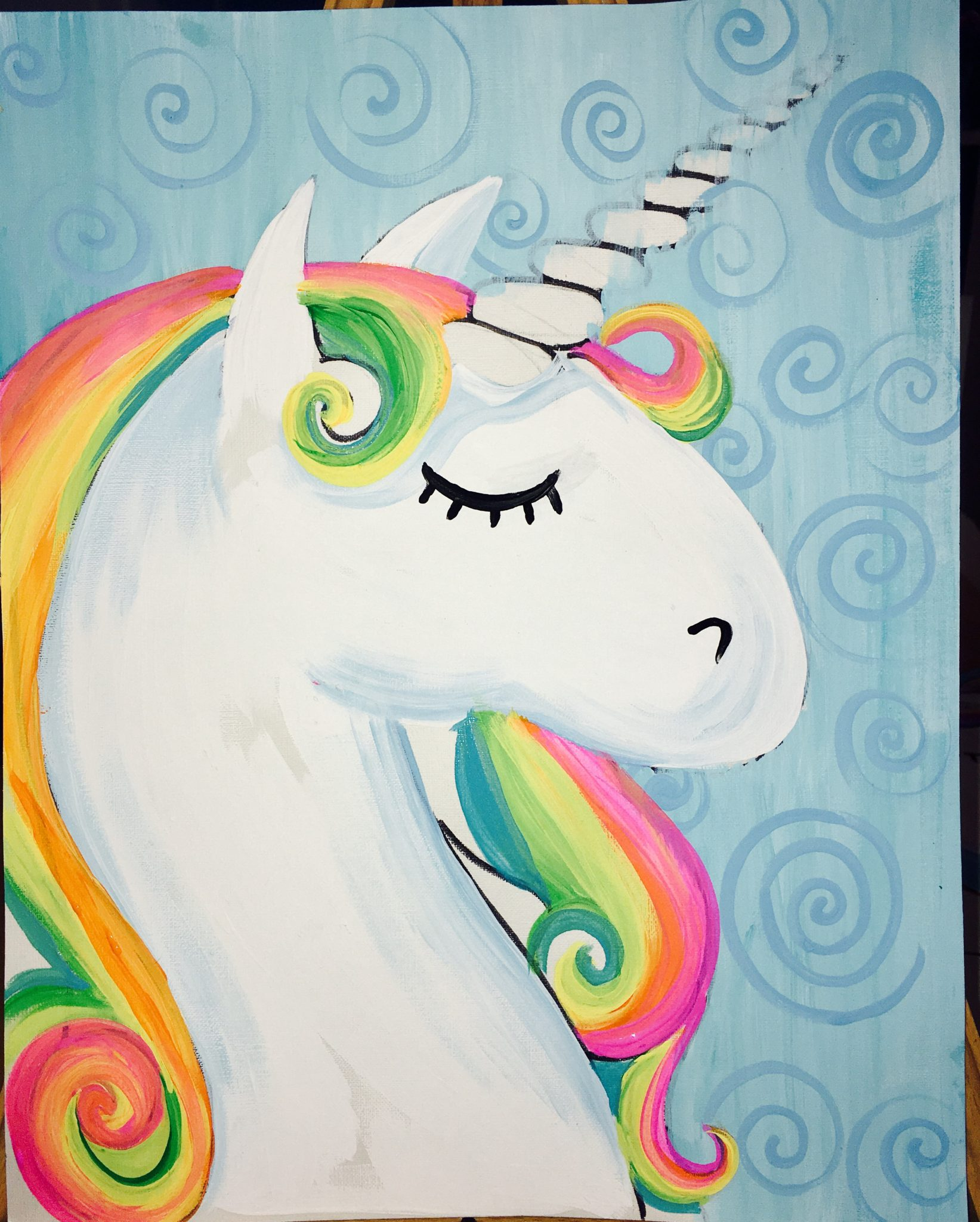 How To Paint A Rainbow Unicorn - Easy Step By Step Painting - photo#48