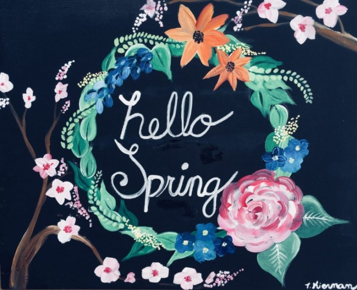 How To Paint A Spring Wreath On Black Canvas