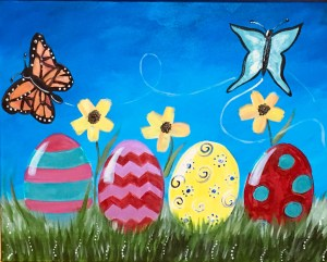 Beginners And Kids Can Learn How To Paint This Easy Easter Canvas Painting Egg Landscape Was Done On A 16 X 20 With Acrylic