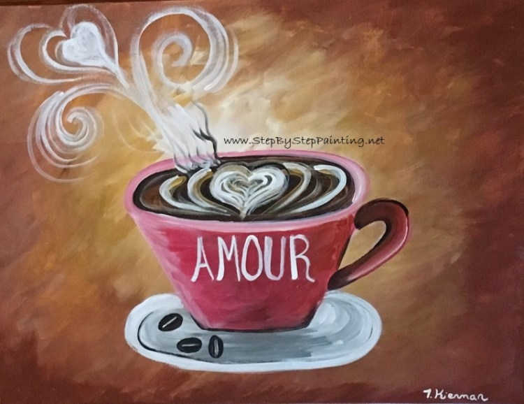 Diy Coffee Art Acrylics On Canvas Step By Step Painting