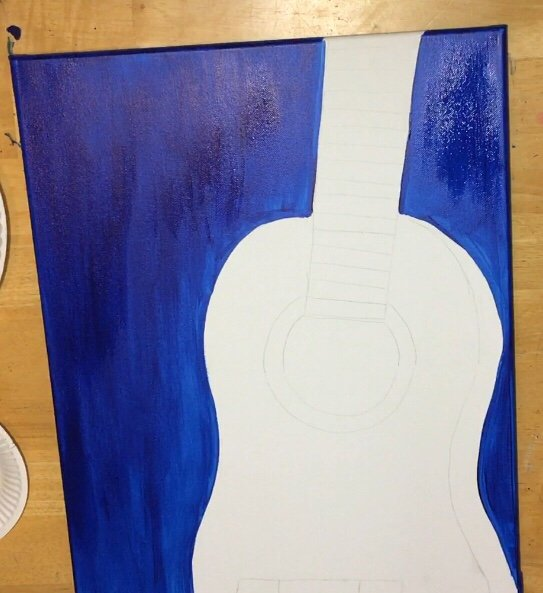 Starry Night Guitar Painting Beginners And KIDS Can Learn How To Do A Canvas
