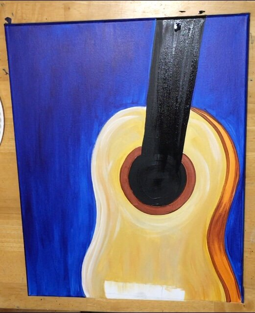 how to paint starry night guitar step by step painting
