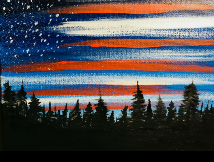 American Flag Sky Painting