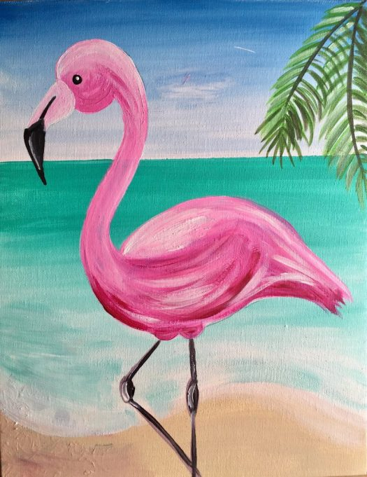 Learn How To Paint A Pink Flamingo On Beach With Acrylic Paints This Step By Painting Tutorial Will Guide You Through The Steps An