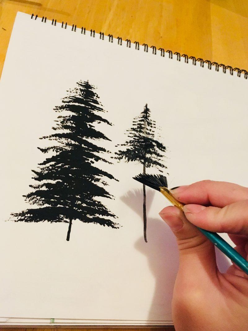 Tree Silhouette Painting : silhouette, painting, Painting, Trees, Brush, Acrylic