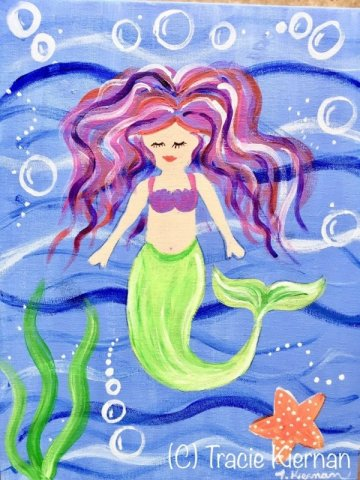 6fd6ef39fb10c5 Easy Kids Mermaid Painting- Acrylic Canvas Lesson - Step By Step ...