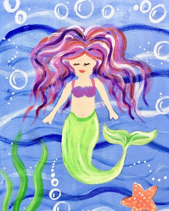 Easy Kids Mermaid Painting Acrylic Canvas Lesson Step By Step Painting