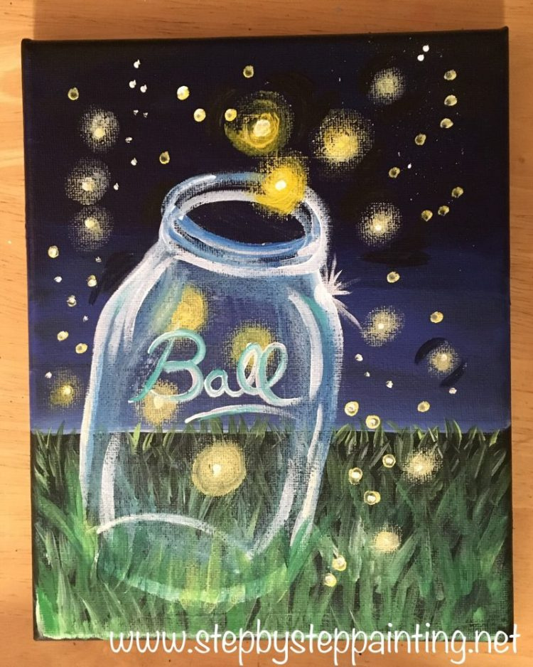 easy canvas painting for beginners, firefly painting, firefly painting tutorial, lightning bug painting, lightning bug painting tutorial, mason jar #firefly #lightningbug