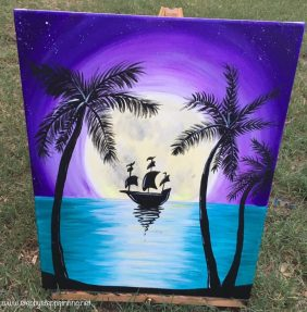 How To Paint A Tropical Moon With Ship