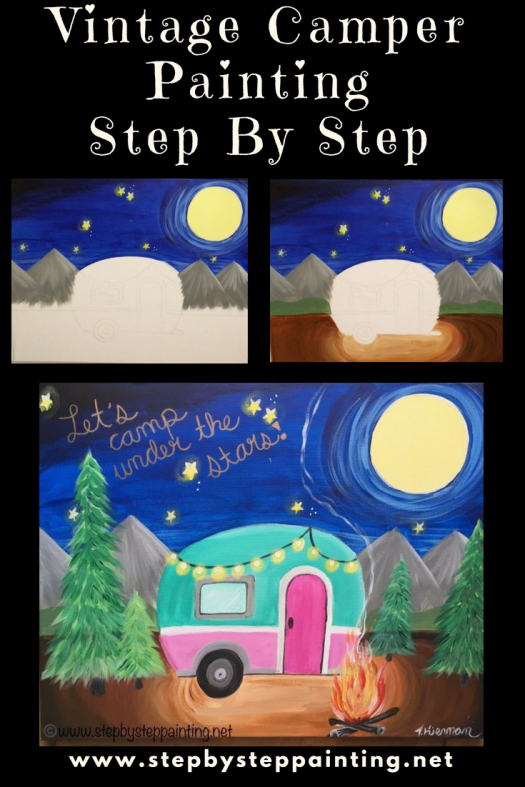 Vintage Camper Canvas Painting Online Tutorial Step By