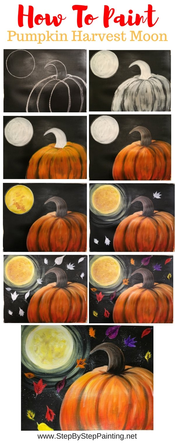 how to paint a pumpkin on canvas, how to paint a harvest moon pumpkin, step by step acrylic painting for beginners, full tutorial with picture instructions #stepbysteppainting #fallcanvaspainting