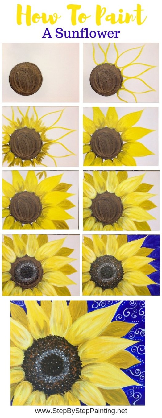 #stepbysteppainting how to paint a sunflower