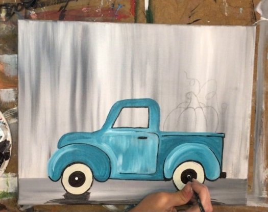 how to paint a vintage pumpkin truck step by step painting