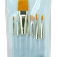 Royal & Langnickel Royal Zip N' Close Gold Taklon Clear Acrylic Handle Variety 7-Piece Brush Set