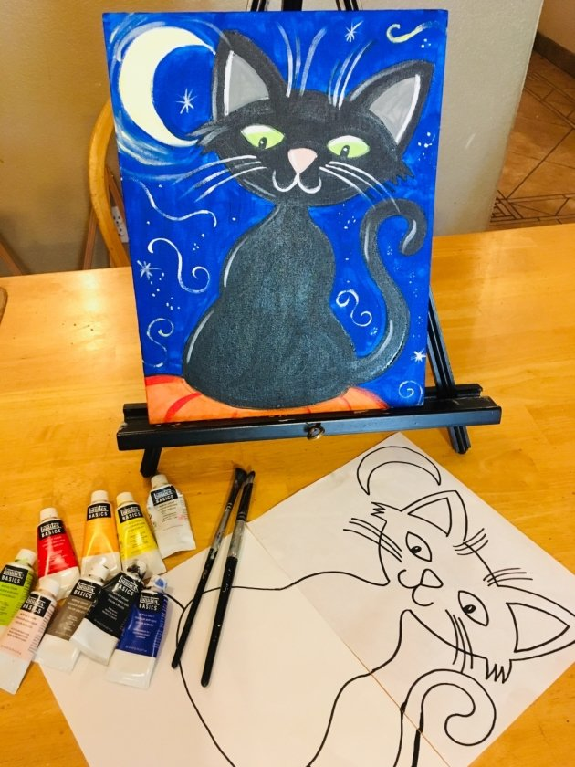 Kids Painting Halloween Cat Step By Step Painting
