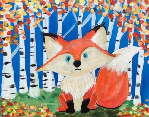 Fox & Birch Trees
