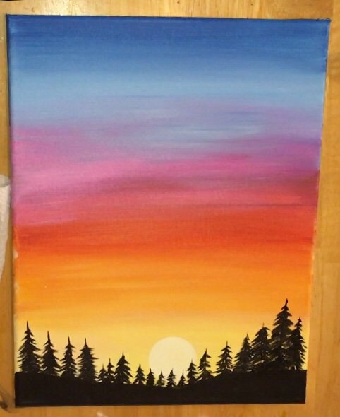 Simple Sunset : simple, sunset, Sunset, Painting, Learn, Paint, Acrylics