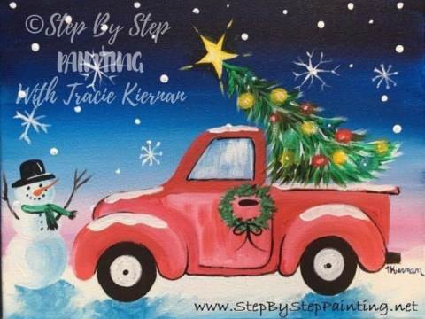 How To Paint A Christmas Tree Truck Step By Step Painting With Tracie Kiernan 1) draw a rectangle that will define the conditional proportions and boundaries of the chosen drawing. how to paint a christmas tree truck