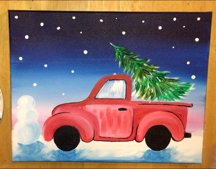 Old Red Truck With Christmas Tree In Back.How To Paint A Christmas Tree Truck Step By Step Painting