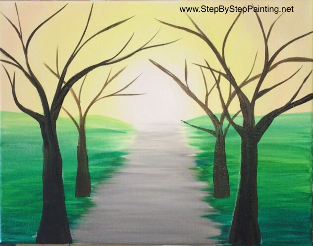 How To Paint A Spring Tree Path Step By Painting With Tracie Kiernan