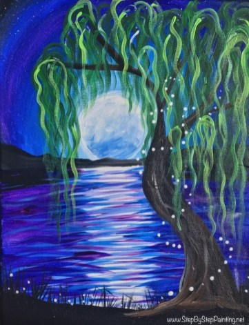How To Paint Willow Tree Moon