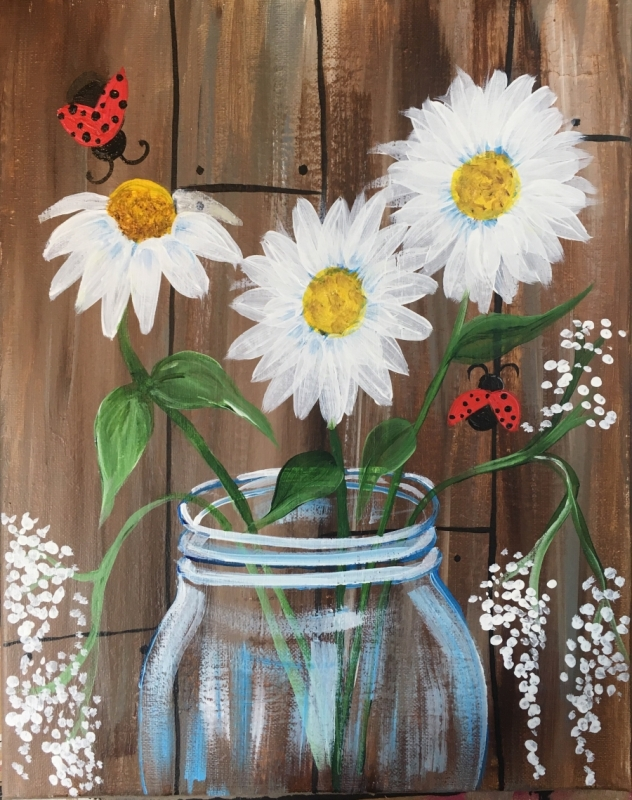 How To Paint Daisies In A Jar Step By Step Painting