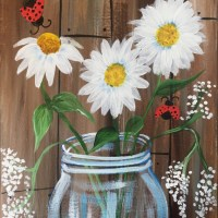 How To Paint A Rustic Jar Of Daisies