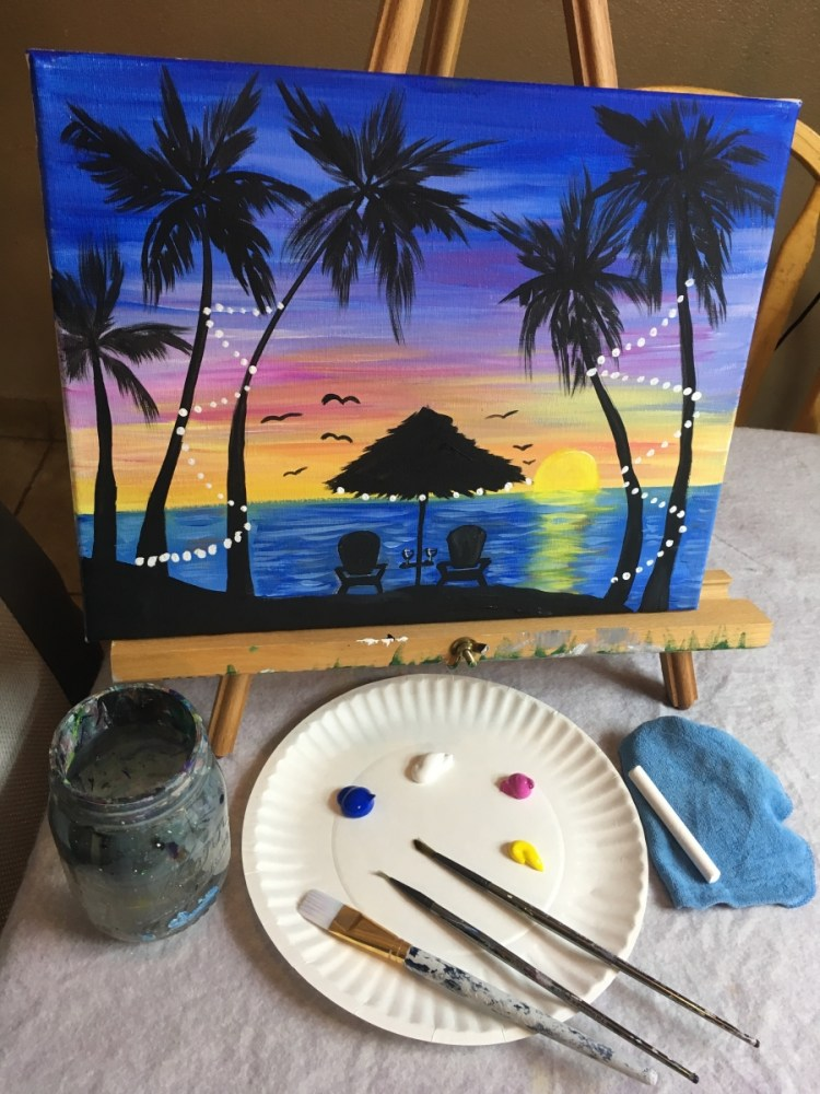 How To Paint Tropical Sunset Step By Step Painting