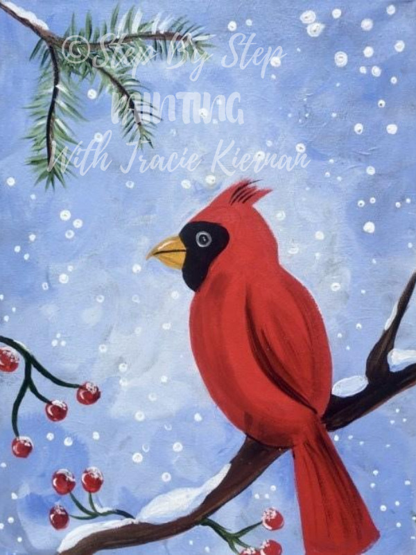 How To Paint A Snowy Cardinal Step By Step Painting With Tracie Kiernan