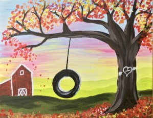 How To Paint A Tire Swing Sunset