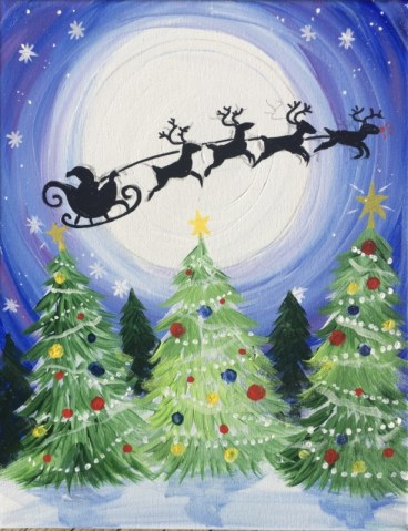 How To Paint Santa Sleigh In Sky