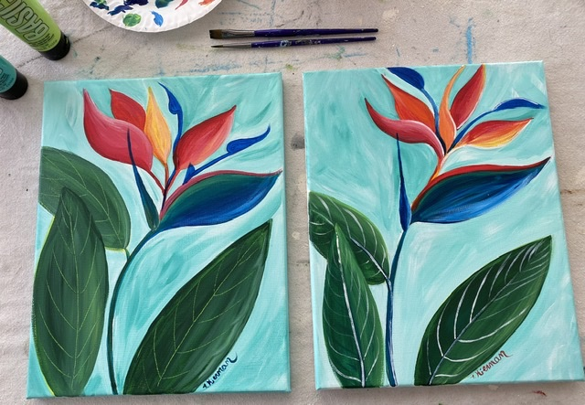 Two Bird of Paradise Paintings side by side