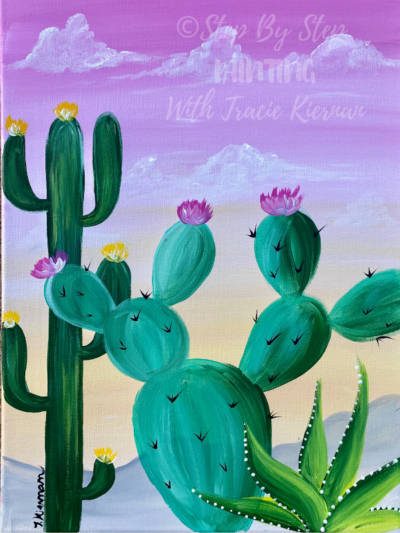 Easy Cactus Painting Desert Golden Hour Step By With Tracie Kiernan